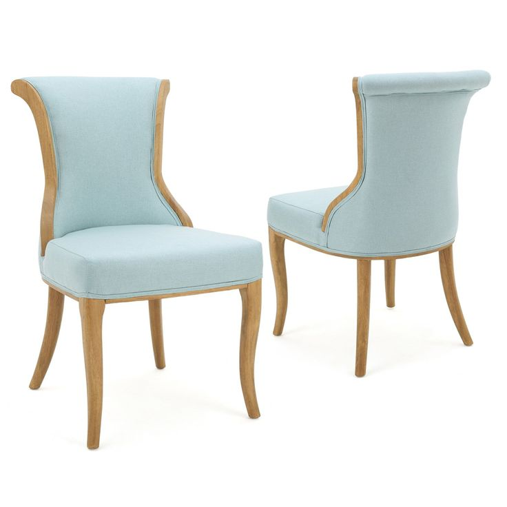 Alexandria Fabric Dining Chair Set Of 2 Light Blue