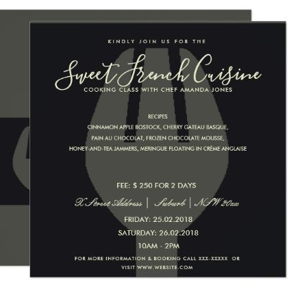 BLACK SPOON FORK COOKING CLASS INVITE TEMPLATE - invitations custom unique diy personalize occasions