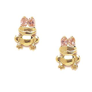 Pink Eyed Frog Earrings for Kids with Screw Backs from www.thejewelryvine.com