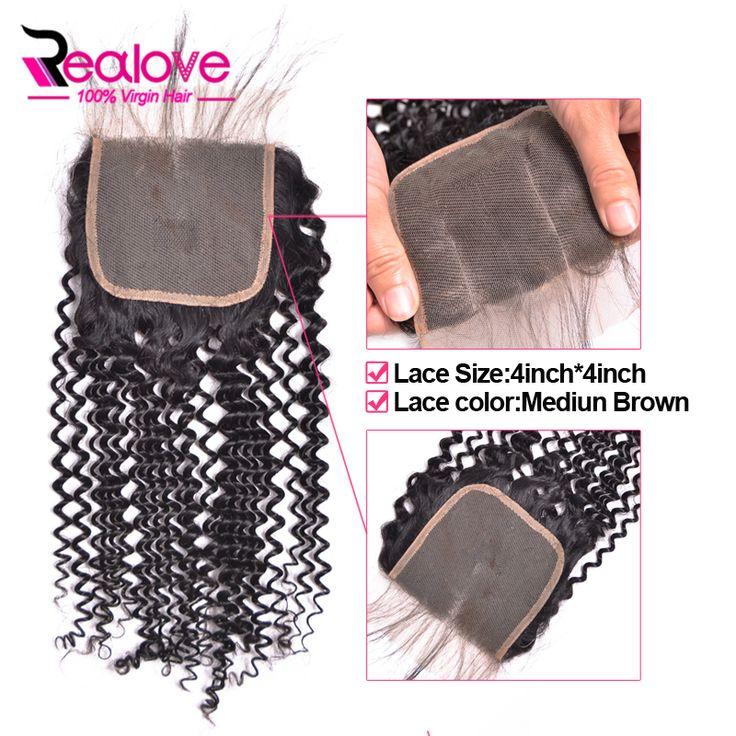 "8A Brazilian kinky curly virgin hair lace closure 10""-24"" full brazilian virgin hair closure 100% curly weave human hair closure"