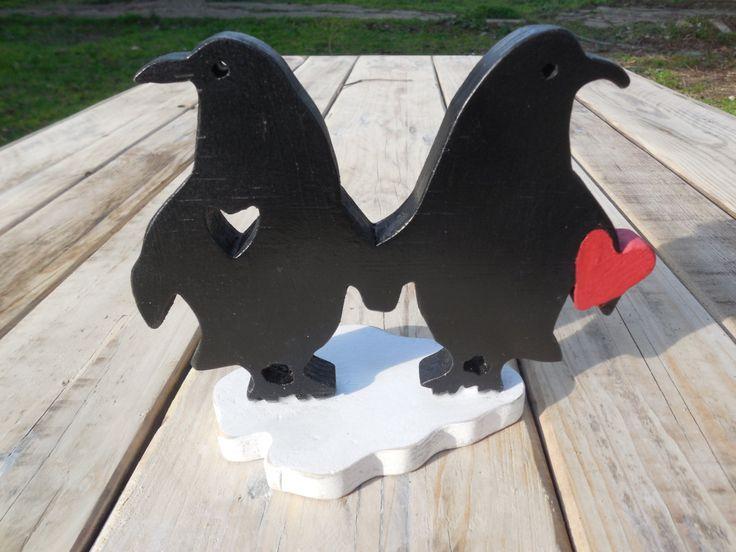 Wooden Valentine's Heart Penguins in love on a iceberg,red,black,white by DesertHeartsCo on Etsy