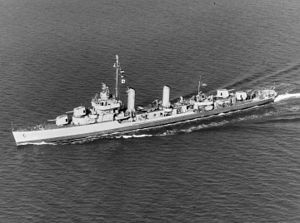 USS Maddox (DD-622) Sunk after being bombed by German aircraft off Gela, Sicily 10 July 1943.