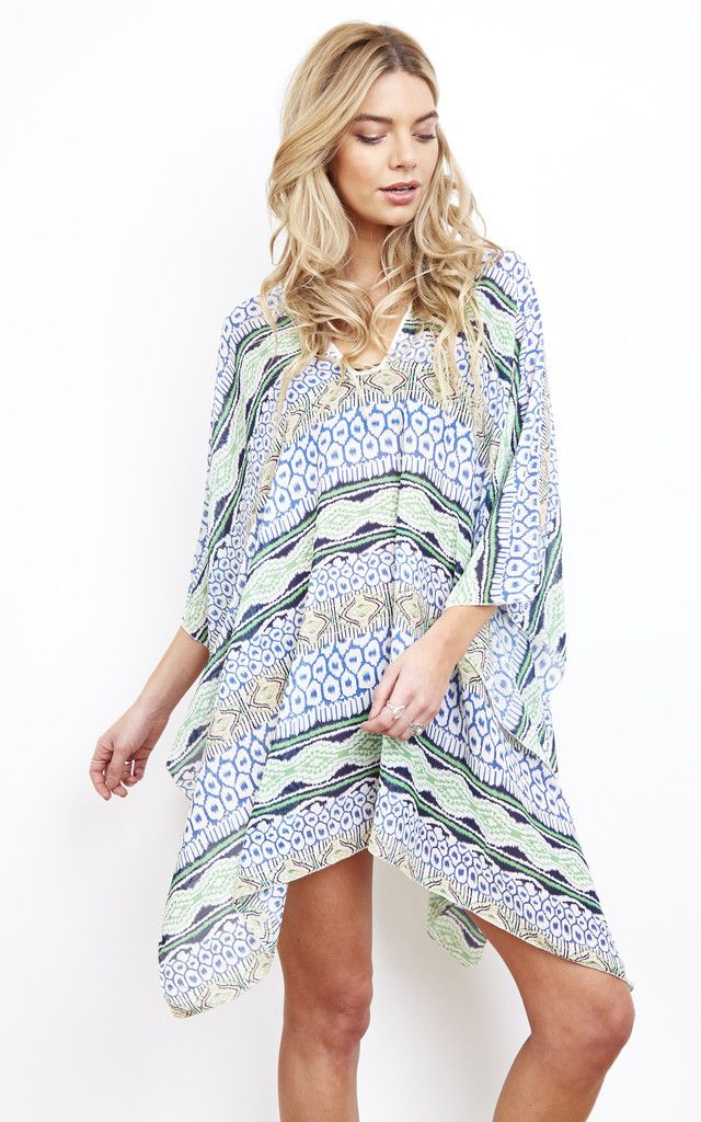 Go tribal with this fab cover-up, perfect for showing off that tan. Light weight and with open sleeves - perfect for throwing on over a bikini.