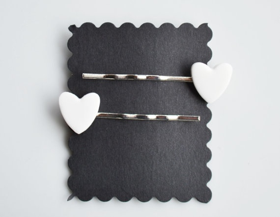 Heart Hair Slides Fimo Polymer clay White by SweetnNeatJewellery