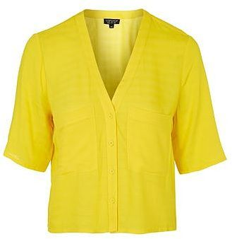 Womens canary yellow double pocket cropped shirt - bright yellow, bright yellow from Topshop - £29 at ClothingByColour.com