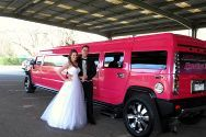 this couple made the right choice of hiring this pink hummer for their wedding in Melbourne