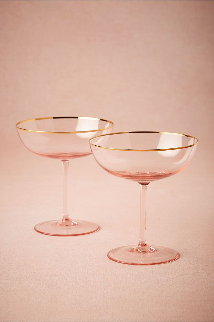 gold rimmed pink coupes - so cute for a toast!