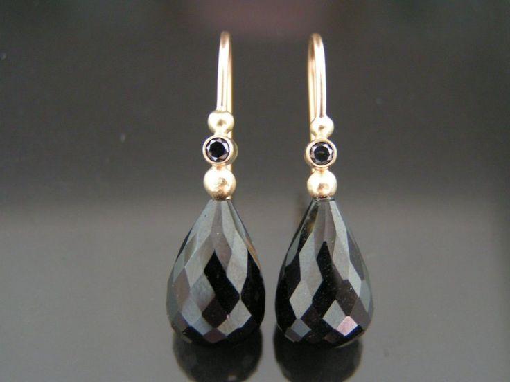 Turmalin dråbe øreringe med sorte diamanter