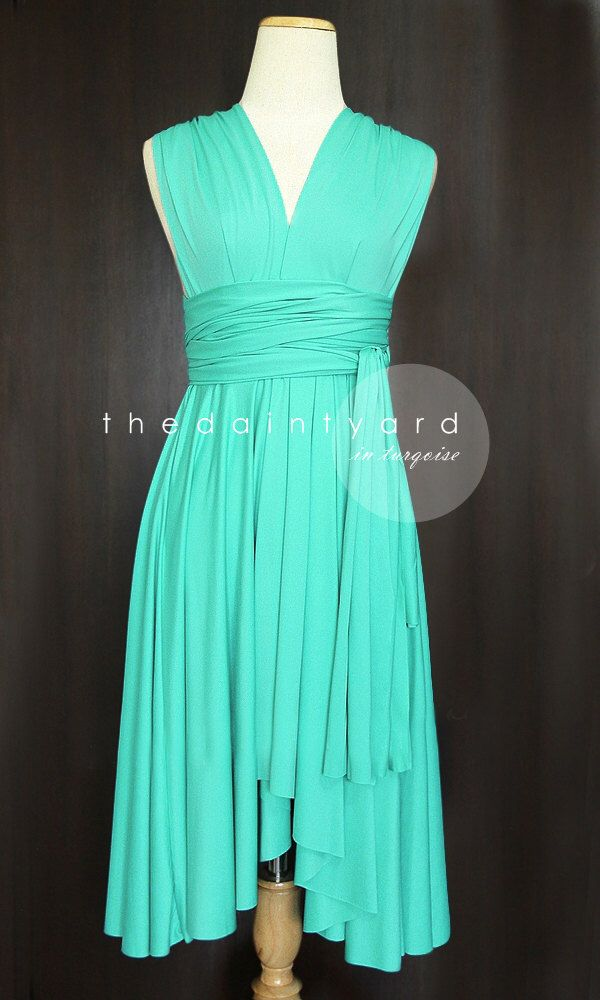 Turquoise Bridesmaid Dress Convertible Dress Infinity Dress Multiway Dress Wrap Twist Dress Wedding Dress Maid of Honor Dress Wedding Dress by thedaintyard on Etsy https://www.etsy.com/listing/150043897/turquoise-bridesmaid-dress-convertible
