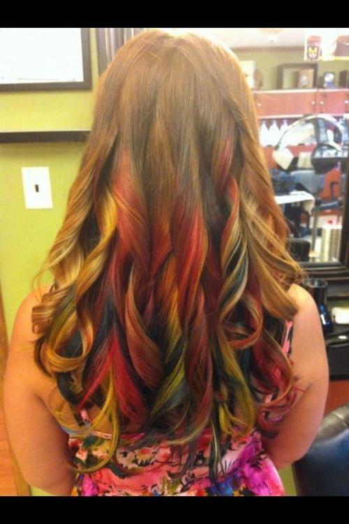 Rainbow ombre hair | color chunking | Pinterest