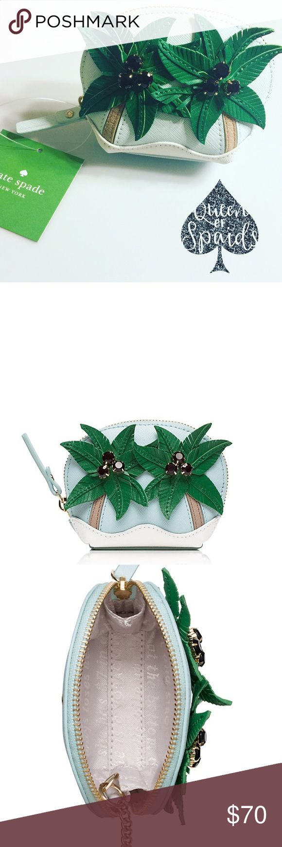 """Kate Spade Palm Tree Coin Purse Stash your spare change in this palm-covered coin purse, guaranteed to make you smile even if your next tropical vacation is ages away.   ♠️Genuine leather with matching trim ♠️14-karat light gold plated hardware ♠️Zip around closure ♠️Kate Spade New York Spade Stud ♠️3.4"""" h x 4.3"""" w x 1.6""""d  ♠️Reads: I need a vacation.  CLOSET RULES ♠️ No Trades ♠️ I do not conduct any transactions off Poshmark ♠️ If I receive an offer for more than 35% off, I will…"""