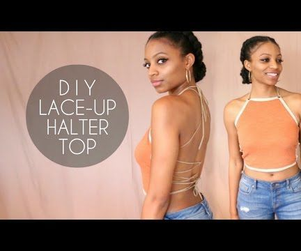 Easy DIY way to transform a regular t-shirt into a cute lace-up halter top with NO SEWING! Perfect for summer!
