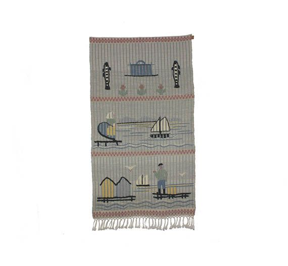 Stunning vintage Wall hanging handwoven Tapestry with ocean