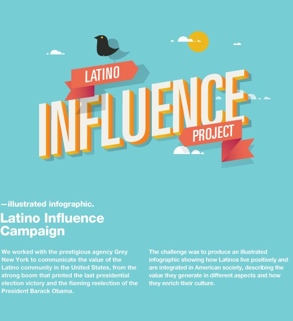 Latino Influence Project Infographics by DHNN Creative Agency, via Behance