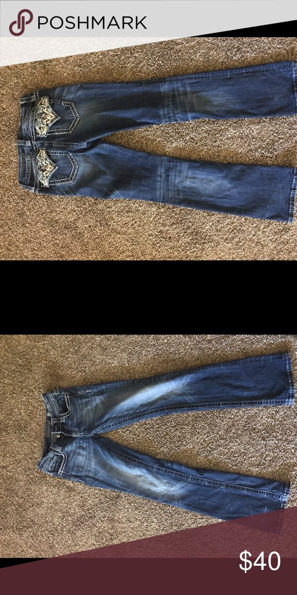 Size 26 Miss Mes. Worn once $40 In perfect condition only wore once since they didn't fit right. Miss Me Jeans Boot Cut