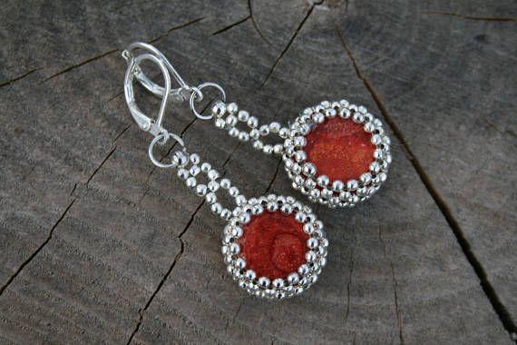 beaded earrings coral earrings dangle earrings victorian #RedEarrings #CoralEarrings #BeadedEarrings