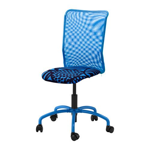 IKEA - TORBJÖRN, Swivel chair, Kvarnatorp blue, , , You sit comfortably since the chair is adjustable in height.The sloping seat provides a comfortable sitting position when leaning forward.