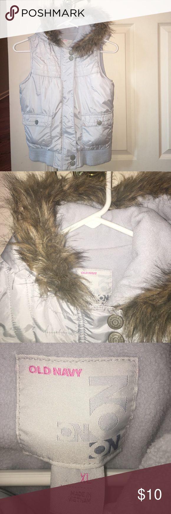 Old Navy Grey Faux Fur Hooded Vest Excellent condition. Faux Fur Hooded Vest Old Navy Jackets & Coats Vests