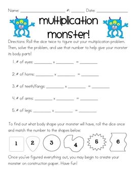 i created this multiplication monster activity as a quick review for my 3rd grade students the. Black Bedroom Furniture Sets. Home Design Ideas