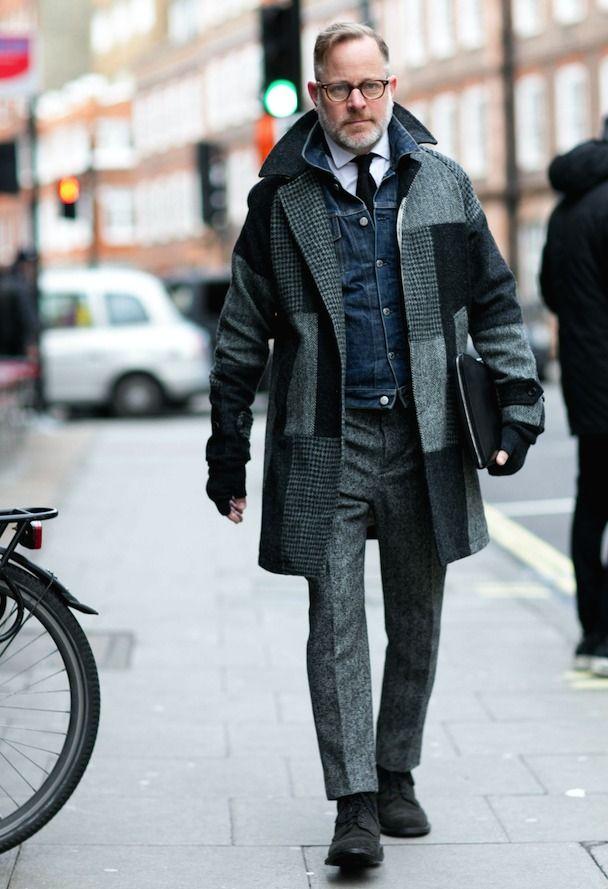 デニムジャケット,ウールスラックス,ネクタイ,シャツ,メンズファッション着こなしコーデ