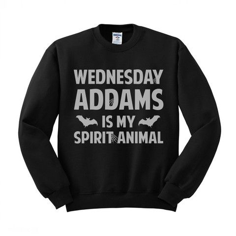 Wednesday Addams is My Spirit Animal (White) Crewneck Sweatshirt – TeesAndTankYou