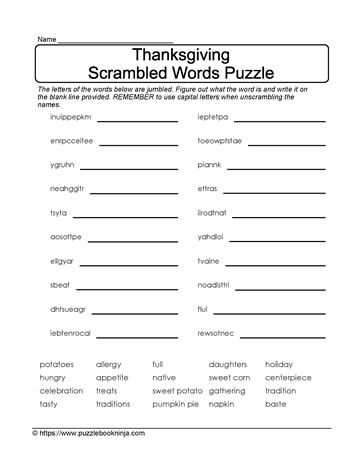 FREE  Thanksgiving scrambled letters puzzle. Vocabulary consolidation, problem solving skills engaged.