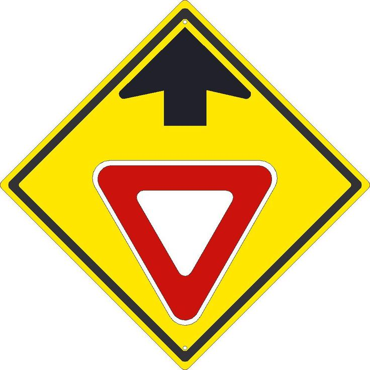 "Yield Symbol With Arrow, National Marker TM611K, 24""x24"", Black On Yellow, 85 Percent Recycled .080"" High Intensity Reflective Aluminum Pedestrian And School Traffic Sign With 2 Holes For Post Mounting - Each"
