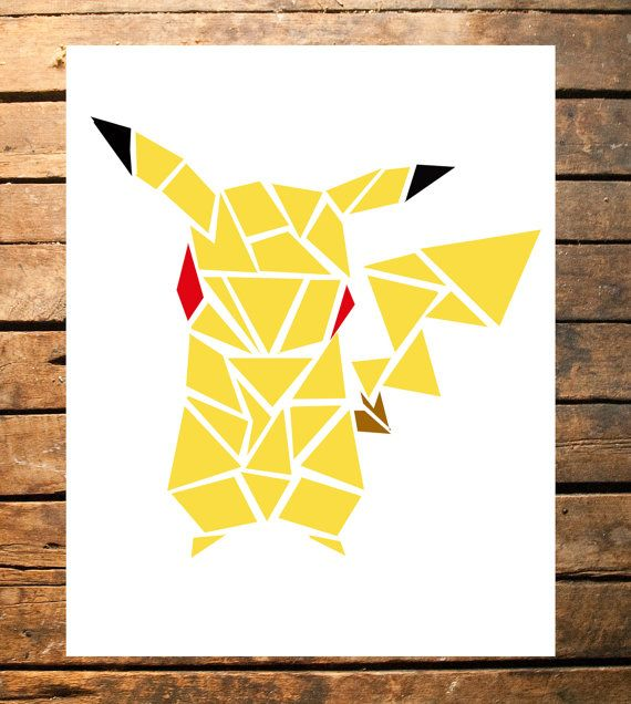 Geometric Pokemon Pikachu Digital File by TaracottaSunrise on Etsy $6.71 for 8x10 digital download
