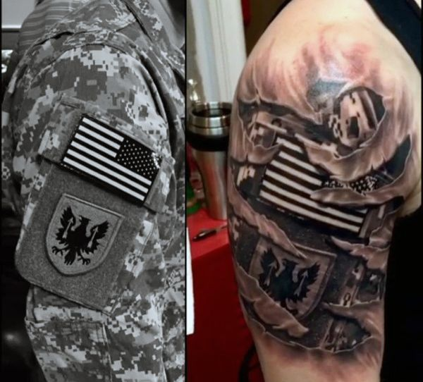 Us Army Mens Upper Arm Ripped Skin Tattoo