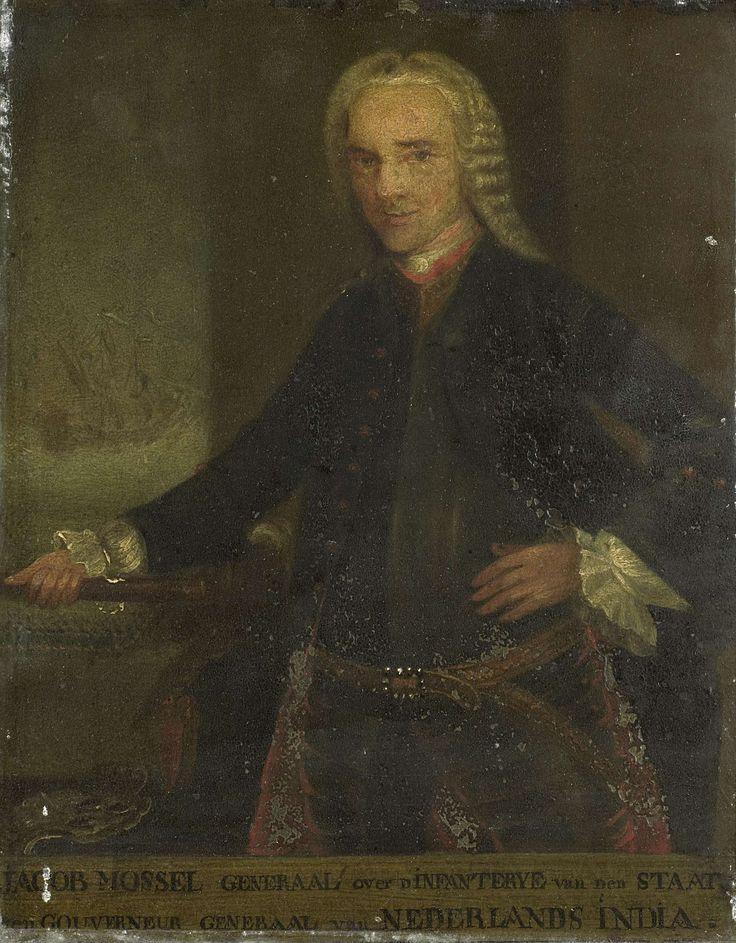 Anonymous   Portrait of Jacob Mossel, Governor-General of the Dutch East India Company, Anonymous, 1750 - 1799   Portret van Jacob Mossel (1704-61). Gouverneur-generaal (1750-61). Heupstuk, staande in wapenrusting naar links. Commandostaf in de rechterhand, de linkerhand in de zij. Op de achtergrond een schip op zee. Onderdeel van een reeks van kopieën naar portretten van de gouverneurs-generaal van het voormalige Nederlands Oost-Indië, waarschijnlijk afkomstig van de Verenigde Oostindische…