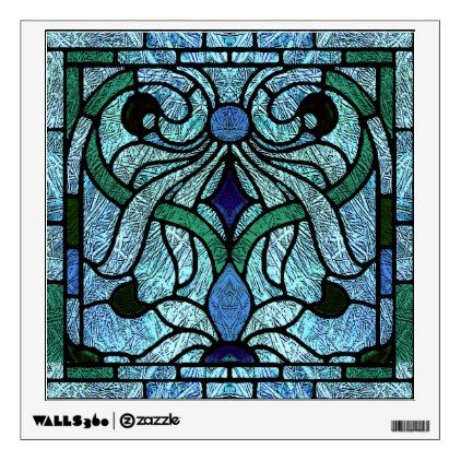 Stained Glass Victorian Design in Blue and Green Wall Decal - walldecals home decor cyo custom wall decals