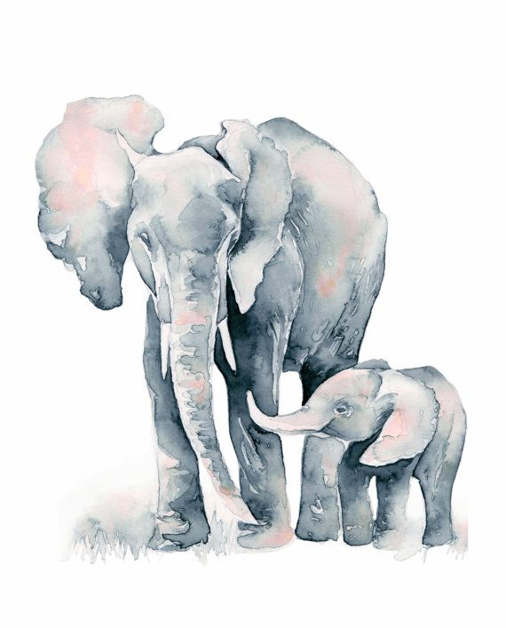 Elephant Baby, PRINT 8x10 inches, Silver and Blush Pink Elephant Mom and Baby watercolor print, nursery art by Katrina Pete