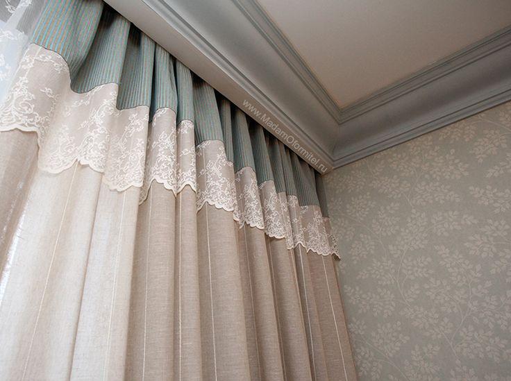 Льняные шторы и кружево шторы в