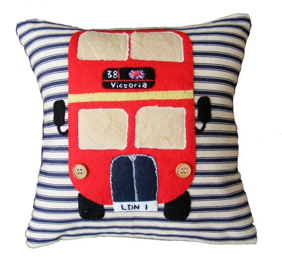 London bus Red pillow cushion appliqued felt and hand by Jamcrafts, $58.00