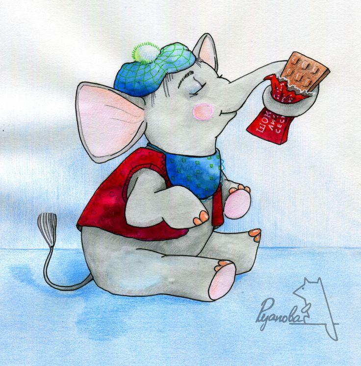 Слоник собирается кушать шоколадку.