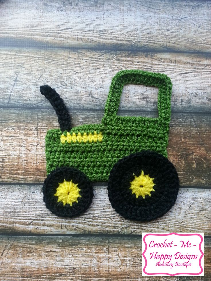 Crochet john deere tractior applique
