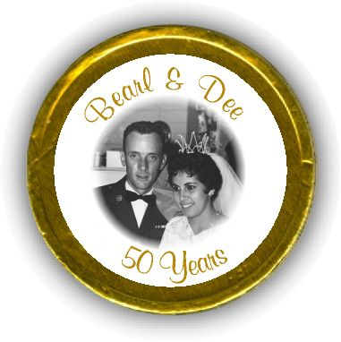 Photo Golden Anniversary Chocolate Coins.Love this idea for my Mom & Dads's 50th