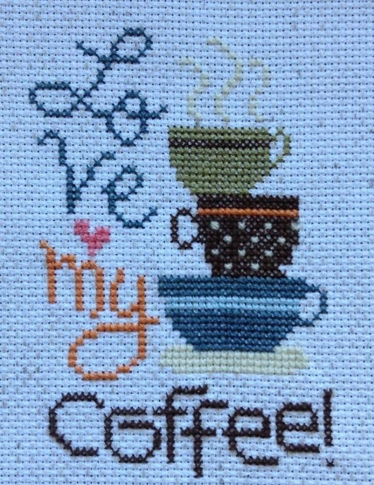 completed cross stitch Lizzie Kate Love my coffee!