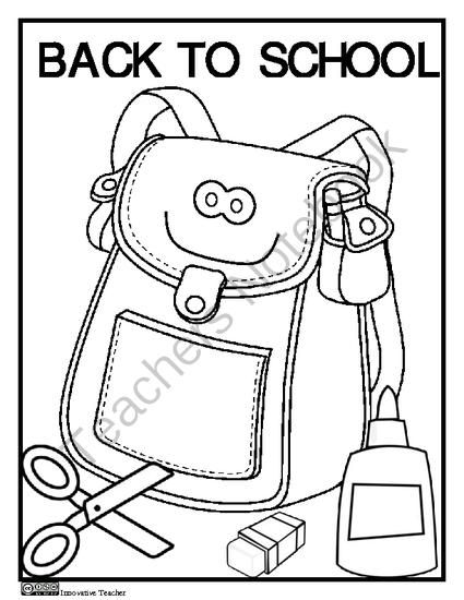 100 Ideas Back To School Coloring Pages First Grade On Kankanwzcom - school backpack coloring page