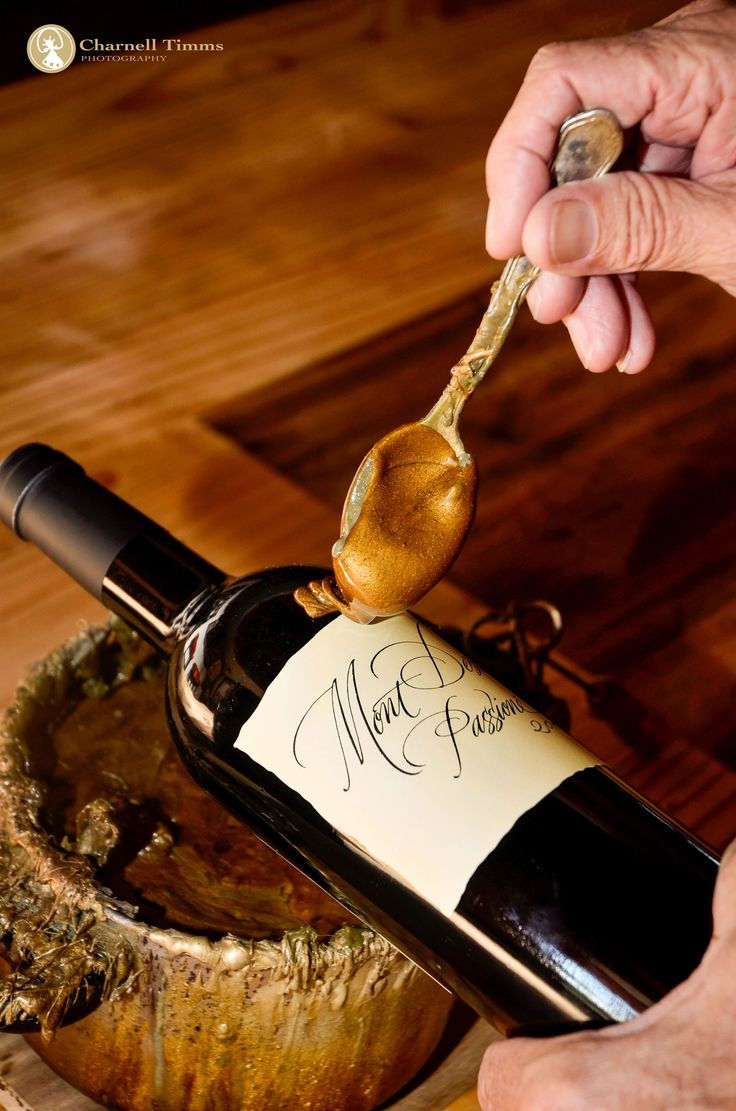 Special edition gold waxed Wine bottles at Mont Destin Winery in Stellenbosch