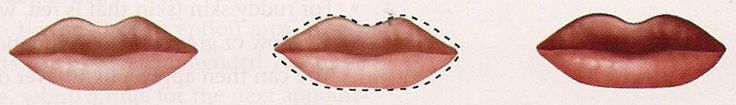 CUPID BOW ( pointed upper lip): To soften the peaks of the upper lip, use a lip-lining pencil to draw a softer curve. Extend the line to the desired shape. Fill in with a light to medium lip color.