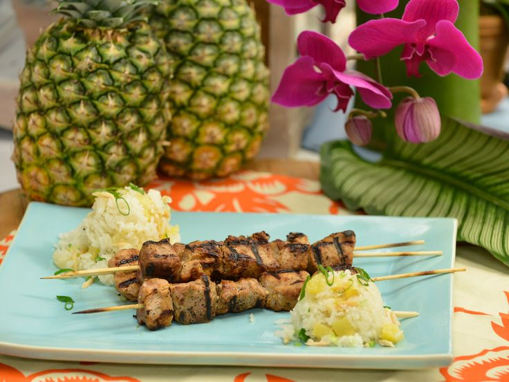 Sunny's Pork Kebabs and Baked Pineapple Rice recipe from Sunny Anderson via Food Network