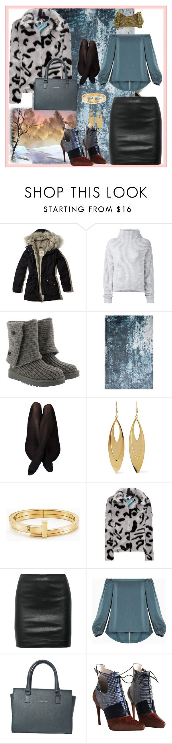 """""""# Winter trends"""" by smakena ❤ liked on Polyvore featuring Hollister Co., Le Kasha, UGG, Plantation Rug Co., Kenneth Jay Lane, Tiffany & Co., Shrimps, The Row, BCBGMAXAZRIA and Lancaster"""