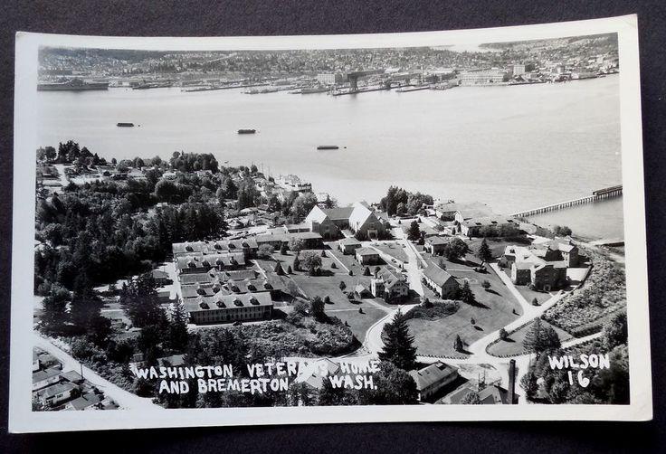 RPPC Washington Veterans Home and Bremerton Washington  Real Photo Postcard