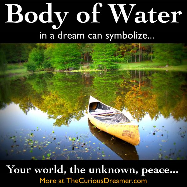 Dreaming about a lake, ocean, or other body of water can mean...   More at TheCuriousDreamer...  #dreammeaning #dreamsymbol