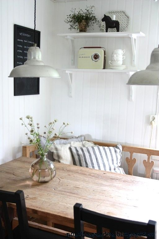 Simple table and gorgeous industrial lights.  See www.willowandstone.co.uk for kitchen lighhting.