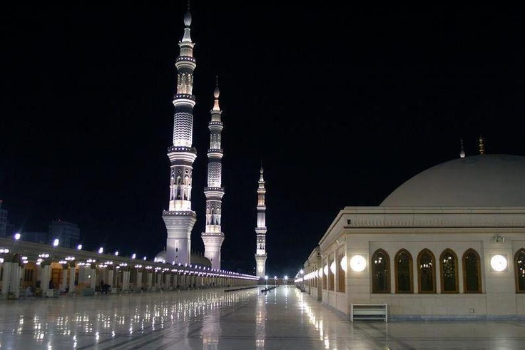 A beautiful view of the terrace at Prophet's Mosque, Madinah
