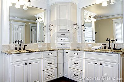 Luxury Large White Master Bathroom Cabinets With Double Sinks. Stock Photos - Image: 28393723