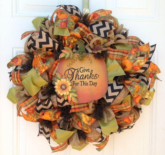 Fall Burlap Wreath - Deco Mesh Wreath - Pumpkin Wreath - Thanksgiving Wreath - Burlap Chevron Wreath - Orange Green Black Ribbon Wreath - $54.00
