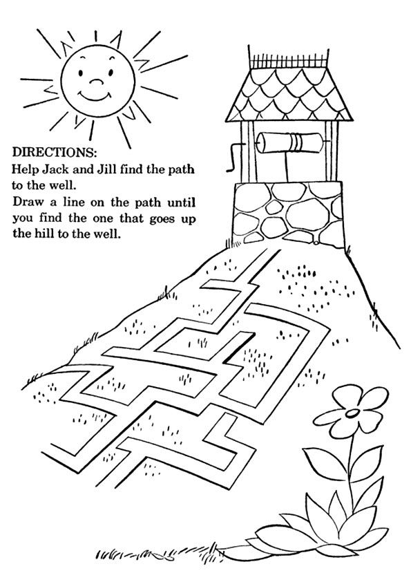 Jack And Jill Nursery Rhyme Coloring Page From Mother Goose